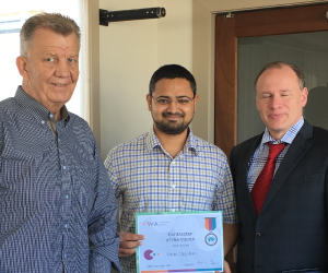 RWA Contractor of the Month, Vinay Chauhan, pictured with Group Information Systems Manager, Walter de Wit and IT Operations Manager, Anton Pretorius.