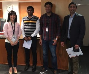 Senior Product Manager, May Wong (Left), Sandeep Chitla (Centre-left), Performance Test Team Lead, Praveen Bondili (Centre-right), Sajid Momin (Right)