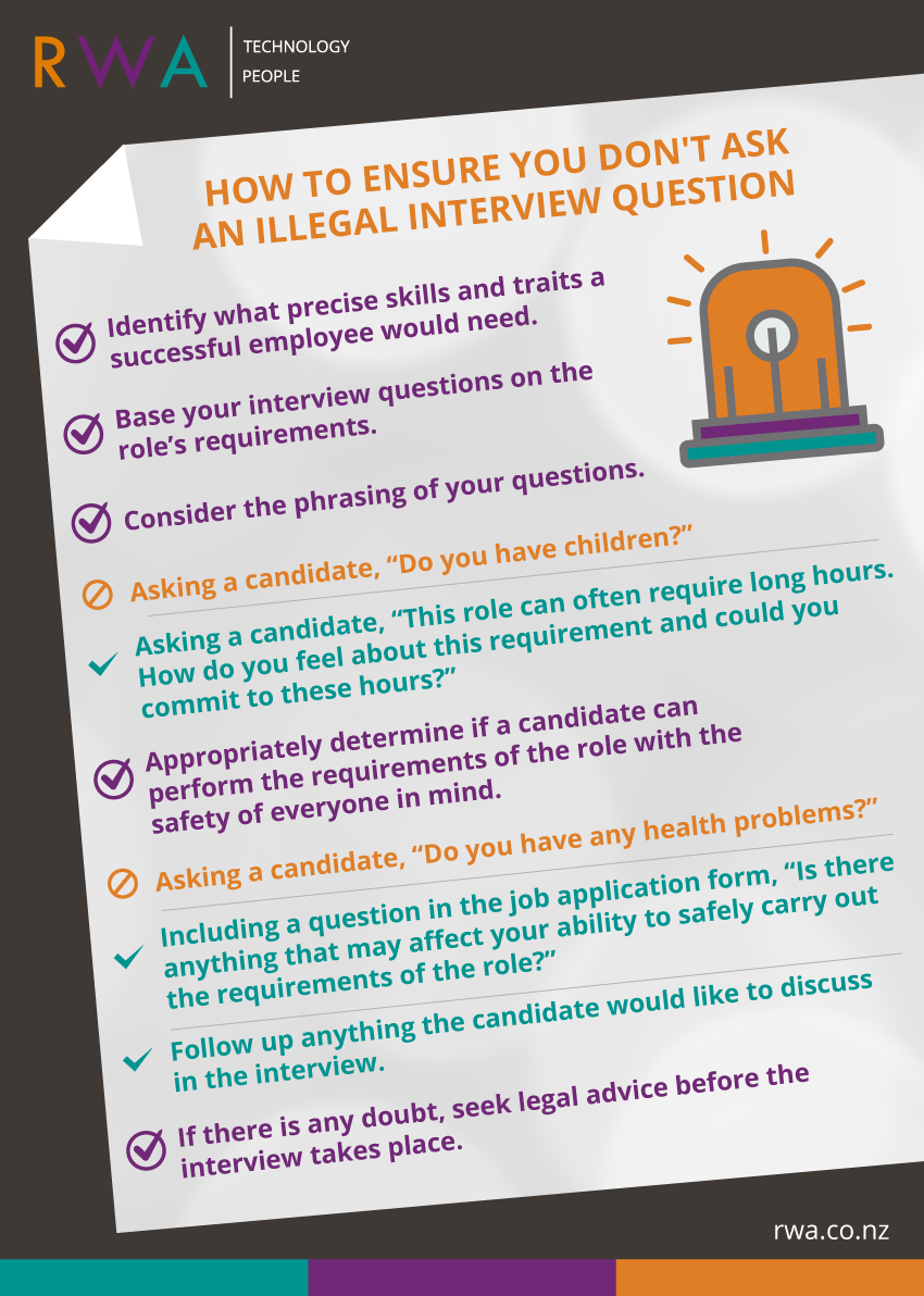 four common job interview questions that are actually illegal to interviewers unintentionally asking illegal questions an important step towards avoiding this is to ensure everyone involved in the interviewing